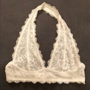 Free people lace halter bra letter cream XS